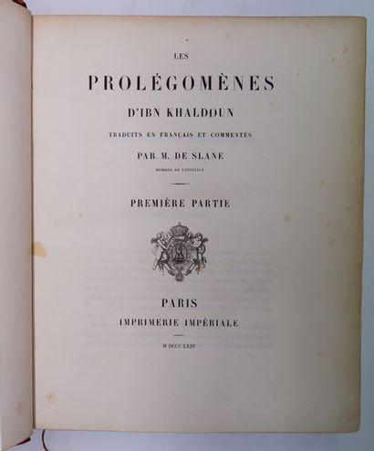 M. de SLANE. Les Prolégomènes d'Ibn Khaldoun....