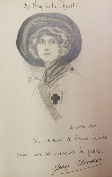ALBUM AMICORUM. S.l., 1816-1819. In-8, maroquin janséniste noir, dos à 5 nerfs,...