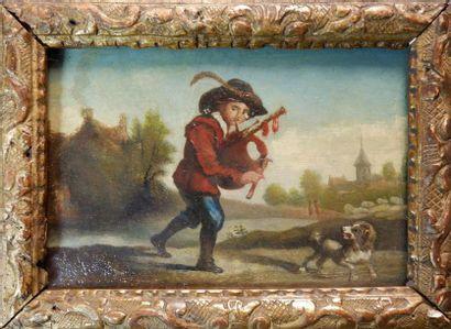 Ecole du XVIIIe siècle Joueur de cornemuse...