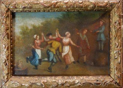 Ecole du XVIIIe siècle Ronde. Huile sur panneau....