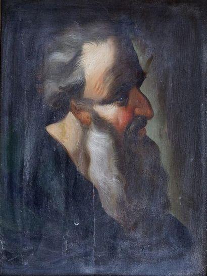 Ecole début XIXe. Moïse. Peinture sur panneau....
