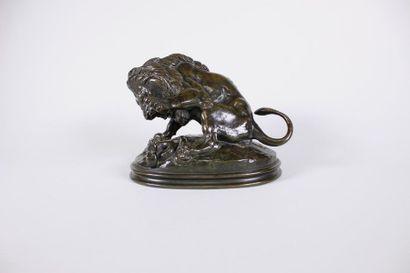 Antoine-Louis BARYE (1795-1875) Lion au serpent...