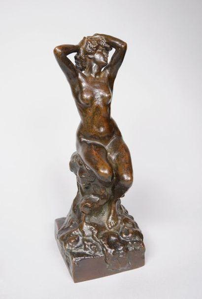 Paul PAULIN (1852-1937) Nu au rocher. Belle...