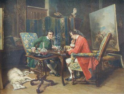 Eugène Benjamin FICHEL (1826-1895) Les joueurs...