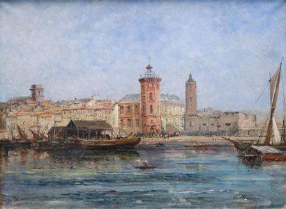L. MARIANI Près de Venise. Huile sur toile...