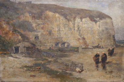 Alexandre DEFAUX (1826-1900) Yport. Huile...