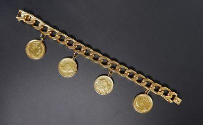 Bracelet gourmette à maille cheval en or...