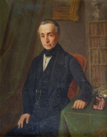 Ecole du XIXe siècle Portrait d'homme, 1846....