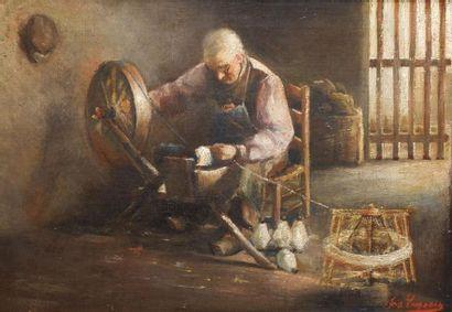 Ecole du XXe siècle Homme au rouet. Huile...