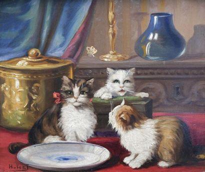Léon Charles HUBER (1858-1928) Les chatons...