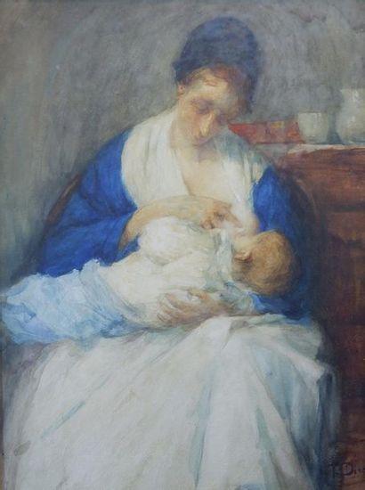 Ecole du XIXe siècle Femme allaitant. Aquarelle...