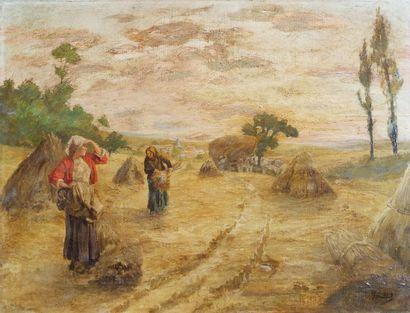 Ecole du XIXe siècle. La fenaison. Huile...