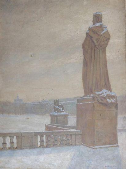M. AYME (XXe siècle) Le parc sous la neige....