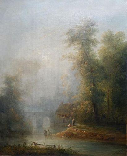 Louis Nicolas CHAINBAUX (XIXe siècle) Paysage...