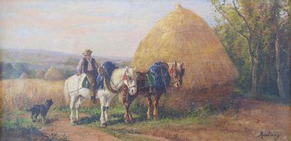 MARTINEZ (XXe siècle) Cavalier devant une...
