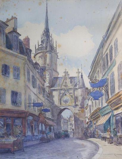 Léon SALLES (1868-1950) Vue d'Auxerre. Aquarelle...