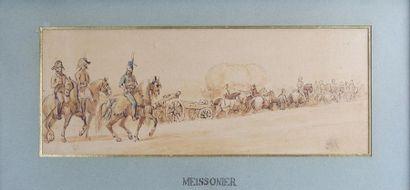 Entourage de MEISSONIER (1815-1891) Une colonne...