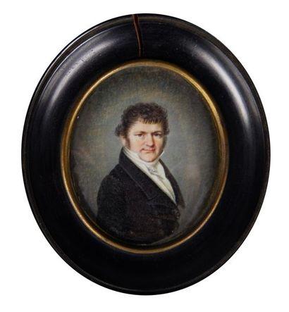 Ecole du XIXe siècle Portrait d'homme. Miniature...