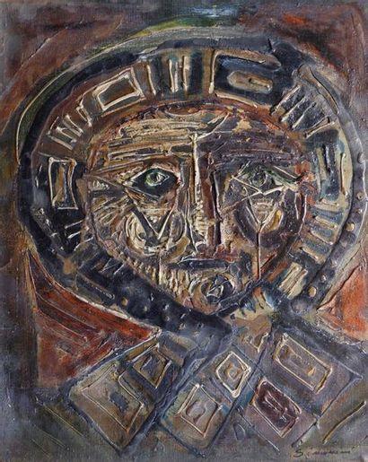 Pierre SIMONINI (XXe siècle) Masque. Peinture sur toile signée en bas à droite....