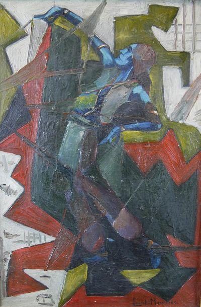 Claire CLAIRET-MOUILLAC (1905-?) Silhouette de femme. Huile sur toile. 55 x 38 ...