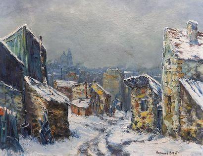Raymond BESSE (1899-1969) Neige à Saint-Ouen. Huile sur toile signée en bas à droite,...