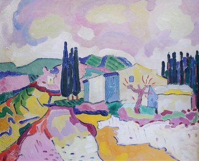Jacques PONS (1936) Paysage aux cyprès. Huile sur toile signée en bas à gauche....