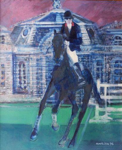 """Paul AMBILLE (1930-2010) """"Chantilly, saut d'obstacle"""", 1995. Huile sur toile signée..."""