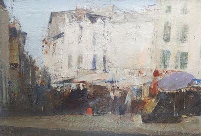 Jean-Claude CHESNAY (XXe siècle) Le marché de Gay-Lussac,1972. Huile sur toile signée...