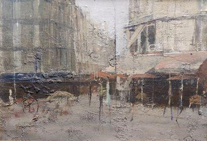 Jean-Claude CHESNAY (XXe siècle) Le quartier latin. Huile sur toile signée en bas...