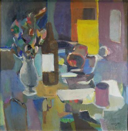 Jean MARZELLE (1916-2005) Intérieur à la pipe. Acrylique sur toile signée en bas...