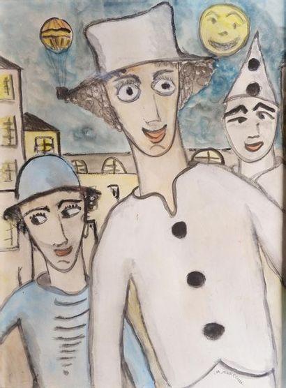 Marcel MARCEAU (1923-2007) Les clowns. Aquarelle...