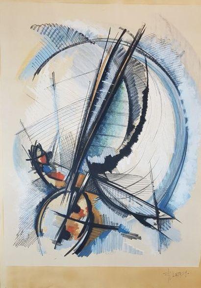 Roger LERSY (1920-2004) Abstraction. Gouache signée en bas à droite. 65 x 60 cm