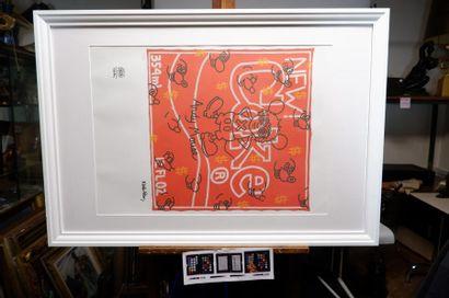 Keith HARRING (1958-1990) Andy MOUSE. Monographie en couleur signée en bas à droite...