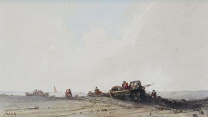 F. Frantz (XIXe siècle) Les pécheurs. Aquarelle signée en bas à gauche. 12,5 x 23...
