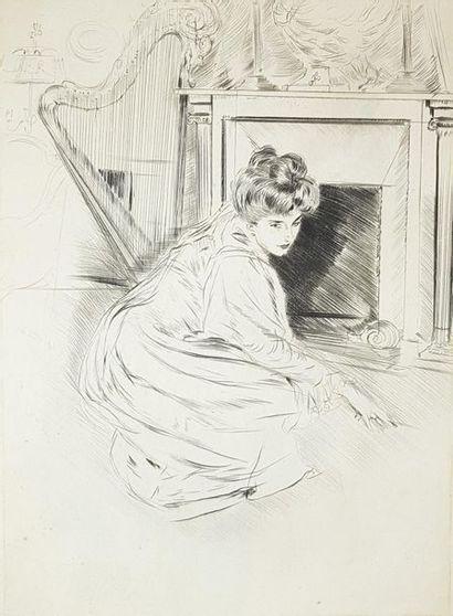 Paul HELLEU (1859-1927) Femme à la harpe. Pointe sèche (légèrement jaunie, petites...