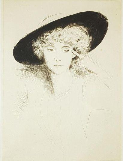 Ensemble de quatre estampes : - Paul HELLEU (1859–1927). La Parisienne. Lithographie...