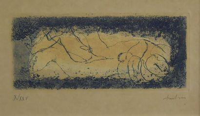 Jean FAUTRIER (1898-1964) Couple doré. Eau-forte...