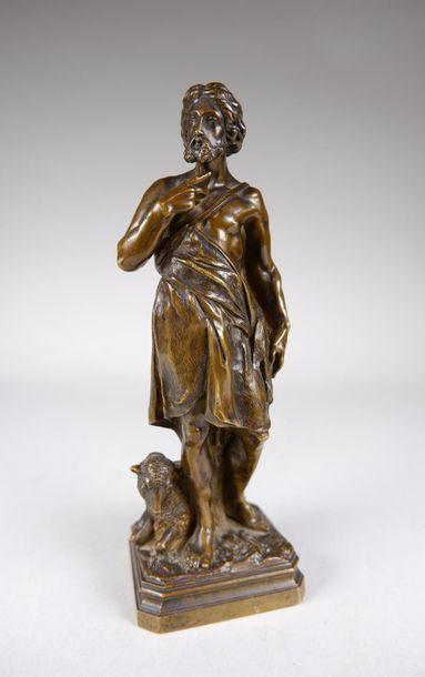 Ecole française du XIXe siècle Saint Jean-Baptiste. Epreuve en bronze à patine brun...