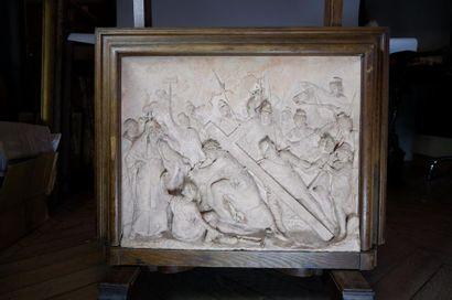 Gustave André NAVLET (1832-?) Chemin de croix, 1902. Terre cuite d'édition signée...