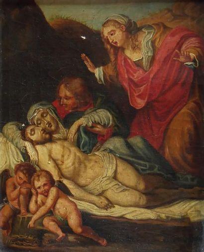 Ecole du XVIIIe siècle La lamentation sur le corps du Christ. Huile sur toile. 29...