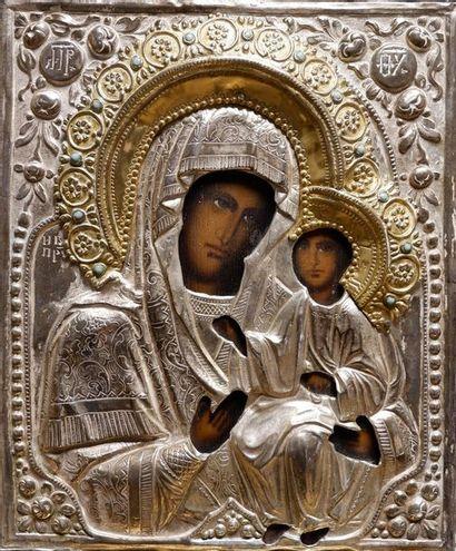 Icône de la Vierge d'Ivérie Oklad estampé...