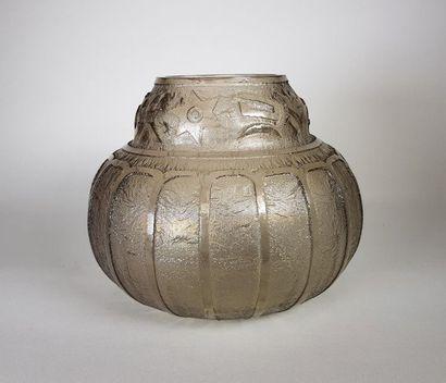 NOVERDY Vase en verre fumé pressé moulé d'un...
