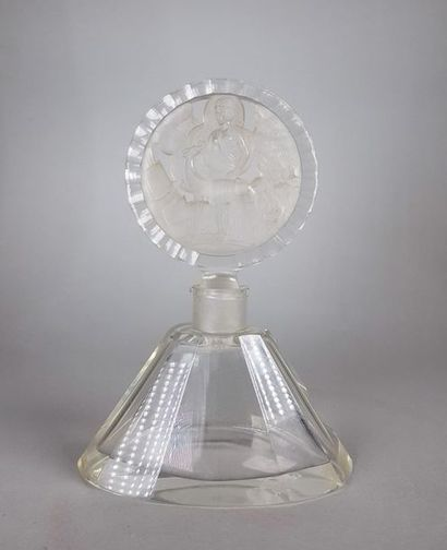 Flacon en cristal de forme trapézoïdale,...