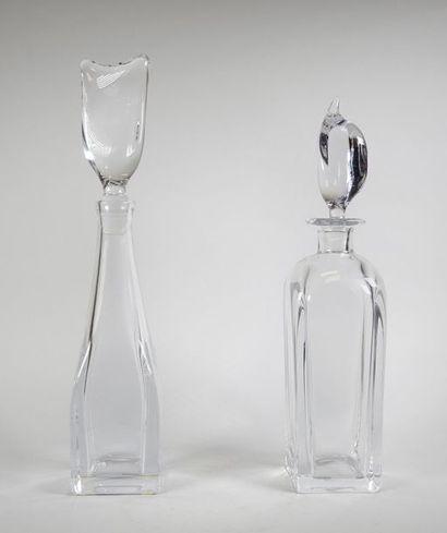 DAUM France Deux carafes en cristal. H :...