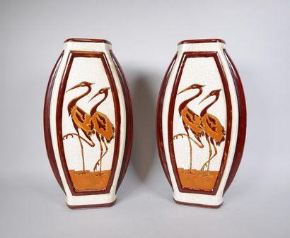 KERALOUVE LA LOUVIERE Paire de vases plats...