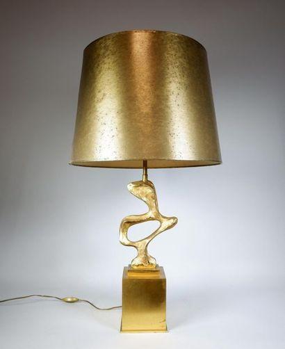 Ph. G. PAPINEAU (XXe siècle) Lampe en bronze...