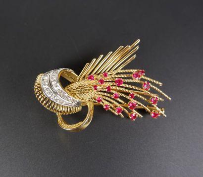 Broche ou clip de corsage formant une gerbe...