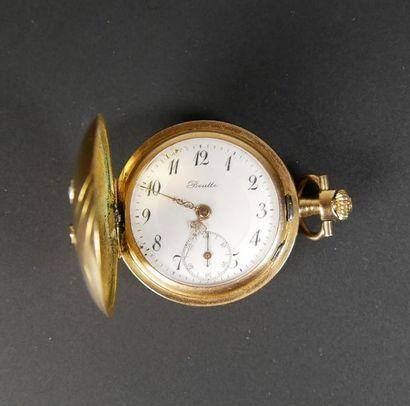 Petite montre savonnette en or jaune 14K...