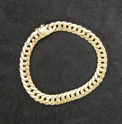 Bracelet gourmette en or jaune 18K (750°/°°)...