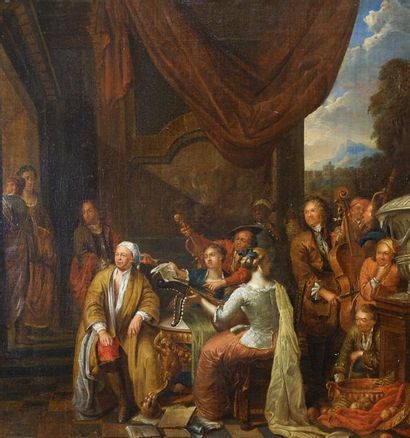 Franz Xaver Hendrik VERBEECK (1686-1755) Le déjeuner et le lever en musique. 1714....